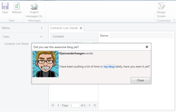 Showing a modal popup in my application.